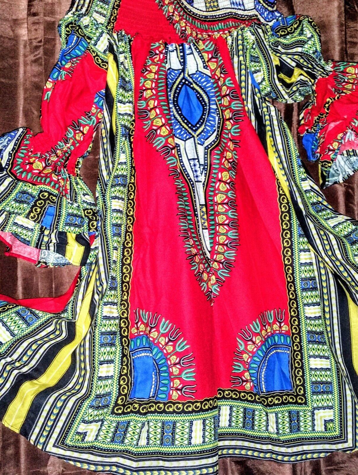 FT Women M Red African Print Off Shoulder Shoulder Shoulder Below Knee Ruffle Sleeve Cotton Dress 60334d