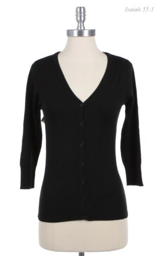 Women/'s V Neck 3//4 Sleeve Button Down KNIT Cardigan WARM High Quality S M L