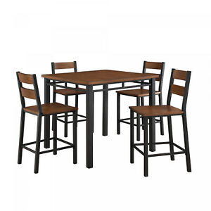 Dining-Table-Set-High-Top-Counter-Height-Rustic-Chair-Kitchen-Nook-5-Piece-Pub
