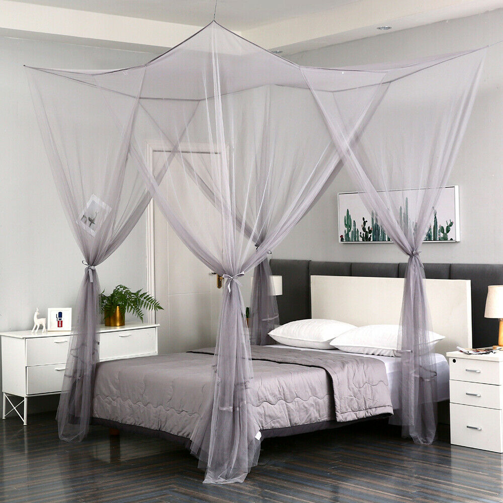 - 4 Corner Gray Post Mosquito Net Curtain Bed Canopy Outdoor Indoor