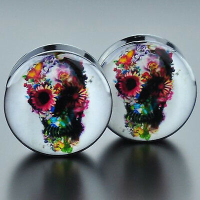 Pair Acrylic Daisy Eye Skull Screwed Ear Flesh Tunnels Plugs Stretcher Gauges