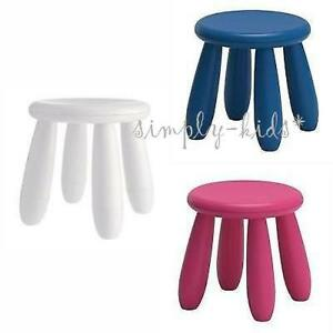 new mammut stool children stool ikea kids seat round white dark blue dark pink ebay. Black Bedroom Furniture Sets. Home Design Ideas