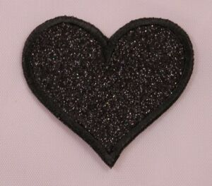 Embroidered-Black-Glitter-Sparkle-Heart-2-034-Love-Jacket-Applique-Patch-Iron-On