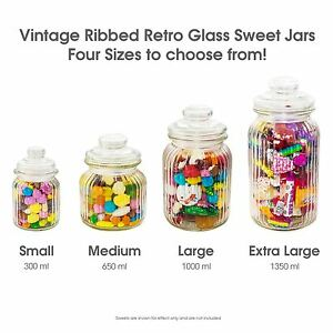 Details about Unowall Vintage Ribbed Glass Sweet Jars & Lids Candy Food  Storage Wedding Favour