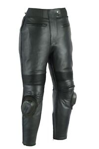 Black-Tab-Motorcycle-Top-Skin-Cowhide-Sports-Leather-Trousers-Jeans-amp-Sliders