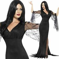 Ladies Immortal Soul Costume Morticia Addams Family Female Witch Fancy Dress