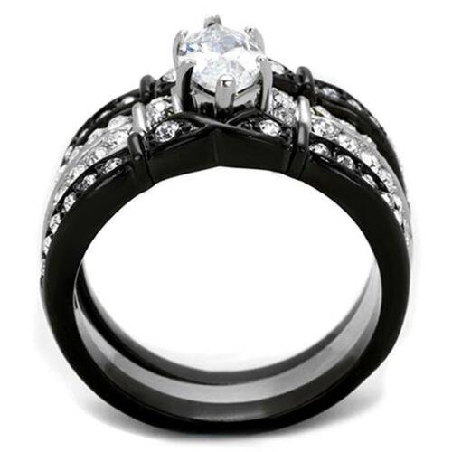 2.50 Ct Marquise Cut CZ noir en acier inoxydable Bague de Mariage Ensemble Femme Taille 5-11