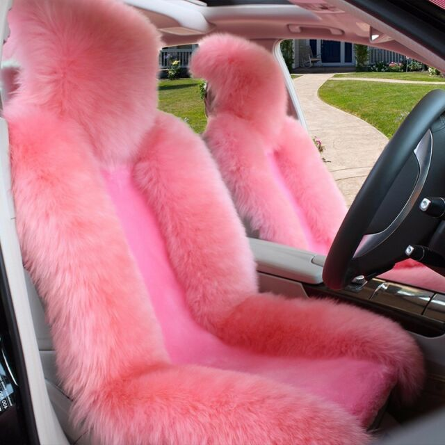 1pc Pink Real Fur Sheepskin Car Seat Covers One Size Fit Most Universal