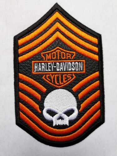 harley davidson patch embroidered in imitation leather skull  free shipping