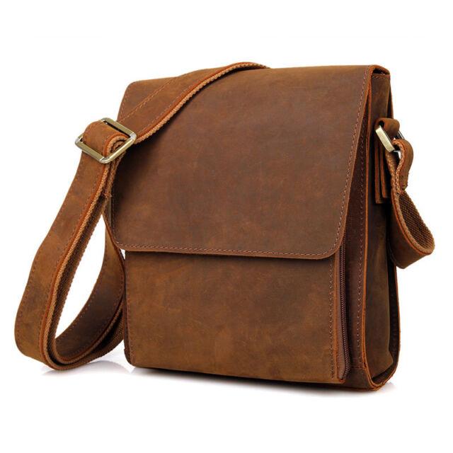 Men Genuine Leather Messenger Bag Satchel Shoulder Cross body Bags Retro Brown