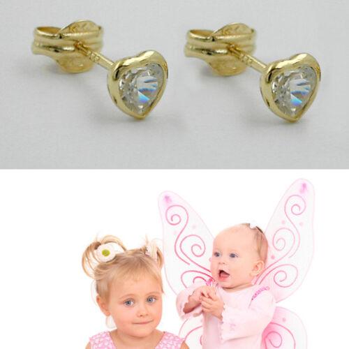8 KT Las chicas señora circonita corazón pendientes par de niños aretes real de oro 333