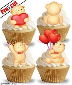 PRE-CUT CUTE LOVE TEDDY BEARS EDIBLE WAFER PAPER CUP CAKE TOPPERS DECORATIONS