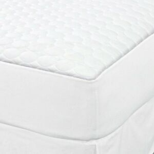 1 KING SIZE WHITE FITTED QUILTED MATTRESS PAD T180 HOTEL 78x80x12 DEEP POCKET