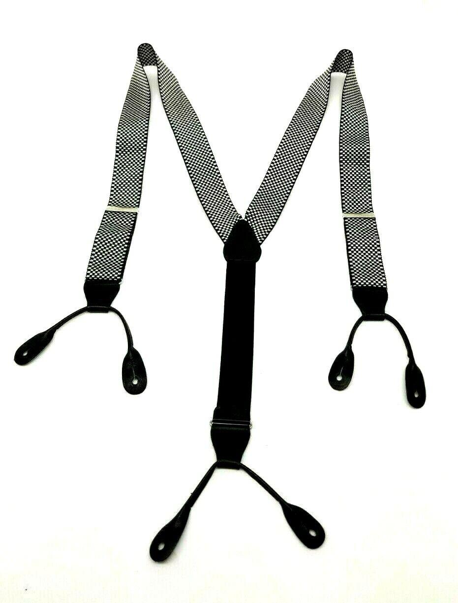 Men's SUSPENDERS Black & White Checked Silk w Leather Attach - Estate Piece