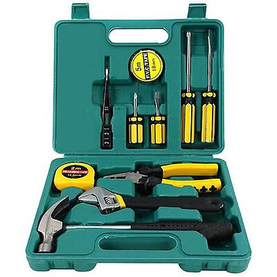 TECH PROFESSIONAL 12 PCS BASIC HAND CARRY TOOL BOX KIT FIX REPAIR HOME TOOLS SET