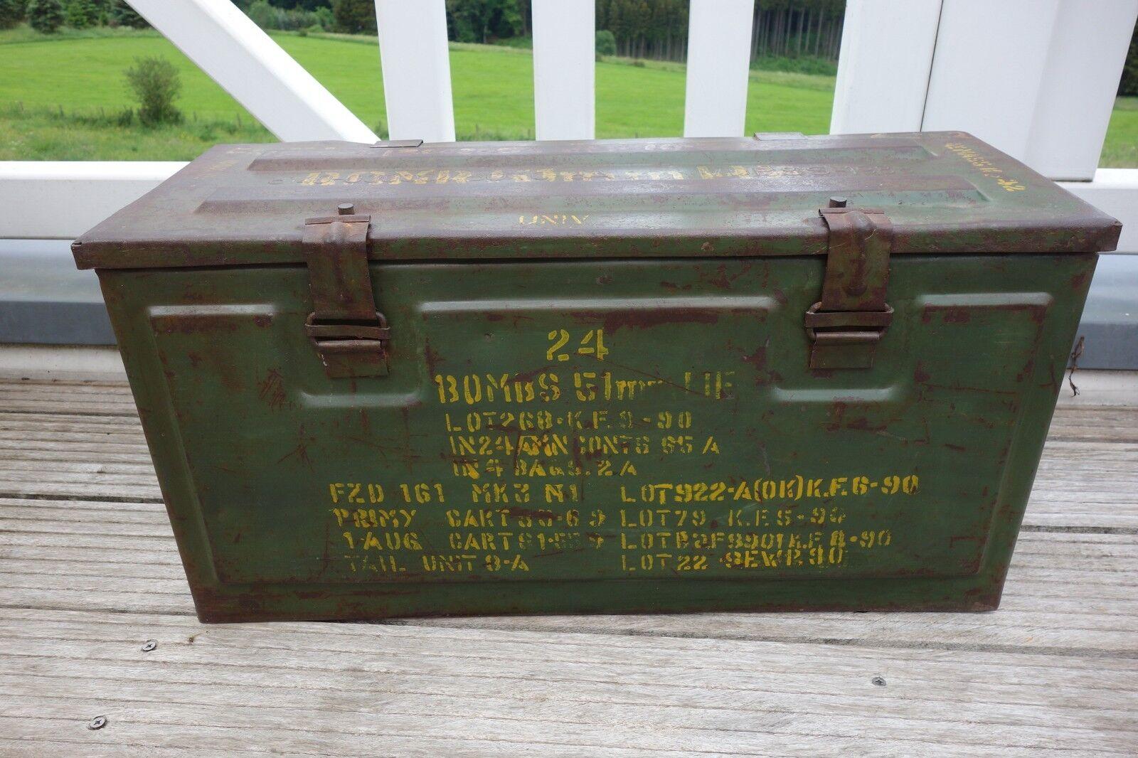 Nostalgie Munitionskiste Deko Kiste Eisen Truhe Retro Antik Look 31x62x24 cm NEU