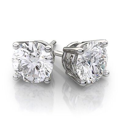5ct 14k White Gold Round Lab Created Diamond Earrings Basket Solitaire Studs 807995050658 Ebay