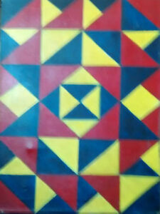 Details About Original Art Abstract Geometric Shhapes Primary Colors Red Blue And Yellow
