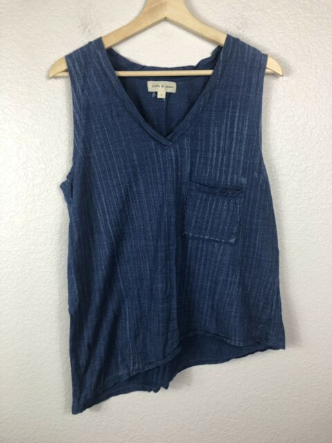 c3bce1cf4574e Cloth & Stone Womens Asymmetrical Tank Sleeveless Top Blue Cotton size Large