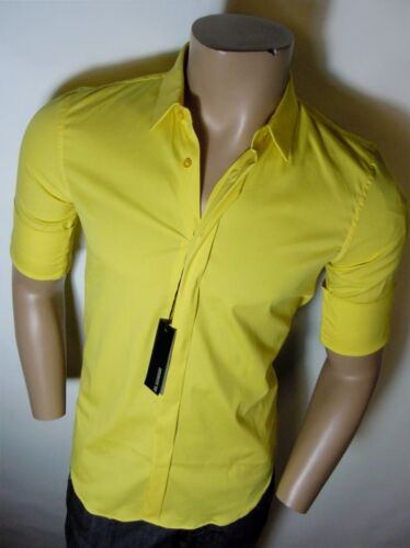 £295 MAINLINE Yellow Stretch Fitted Oversized Cuff Shirt S M L RRP JIL SANDER