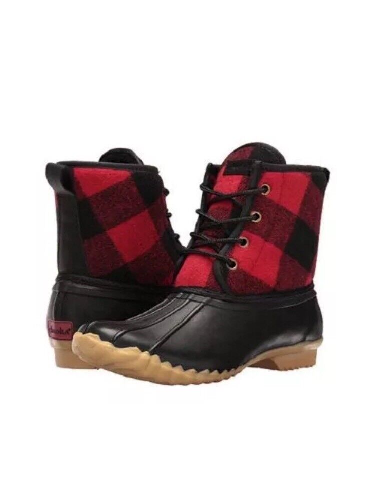 CHOOKA Womens Eastlake Buffalo Red Plaid Black Waterproof Duck Boots US 5  6