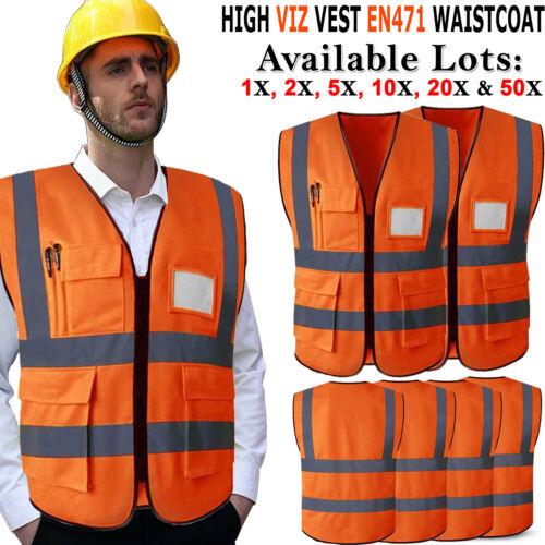 HI VIS SAFETY VEST WAISTCOAT REFLECTIVE HIGH VISIBILITY VIZ JACKET EN471 ORANGE