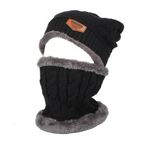 70a79aa4e Details about WITHMOONS Fleece Winter Knit Beanie Hat Slouchy Cap Neck  Warmer GZX0020