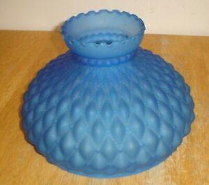 Vintage-Blue-Satin-Glass-Diamond-Quilted-Kerosene-Oil-Lamp-Shade-10-034-Fitter