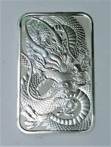 2021 AUSTRALIAN DRAGON 1 oz .9999 Fine Silver Rectangle .999 Bar Perth Mint #638
