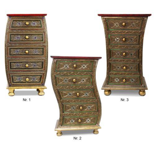 Kommode Schubladenschrank Nachttisch ca 84 cm Glasmosaik Spiegelsteine Holz Gold