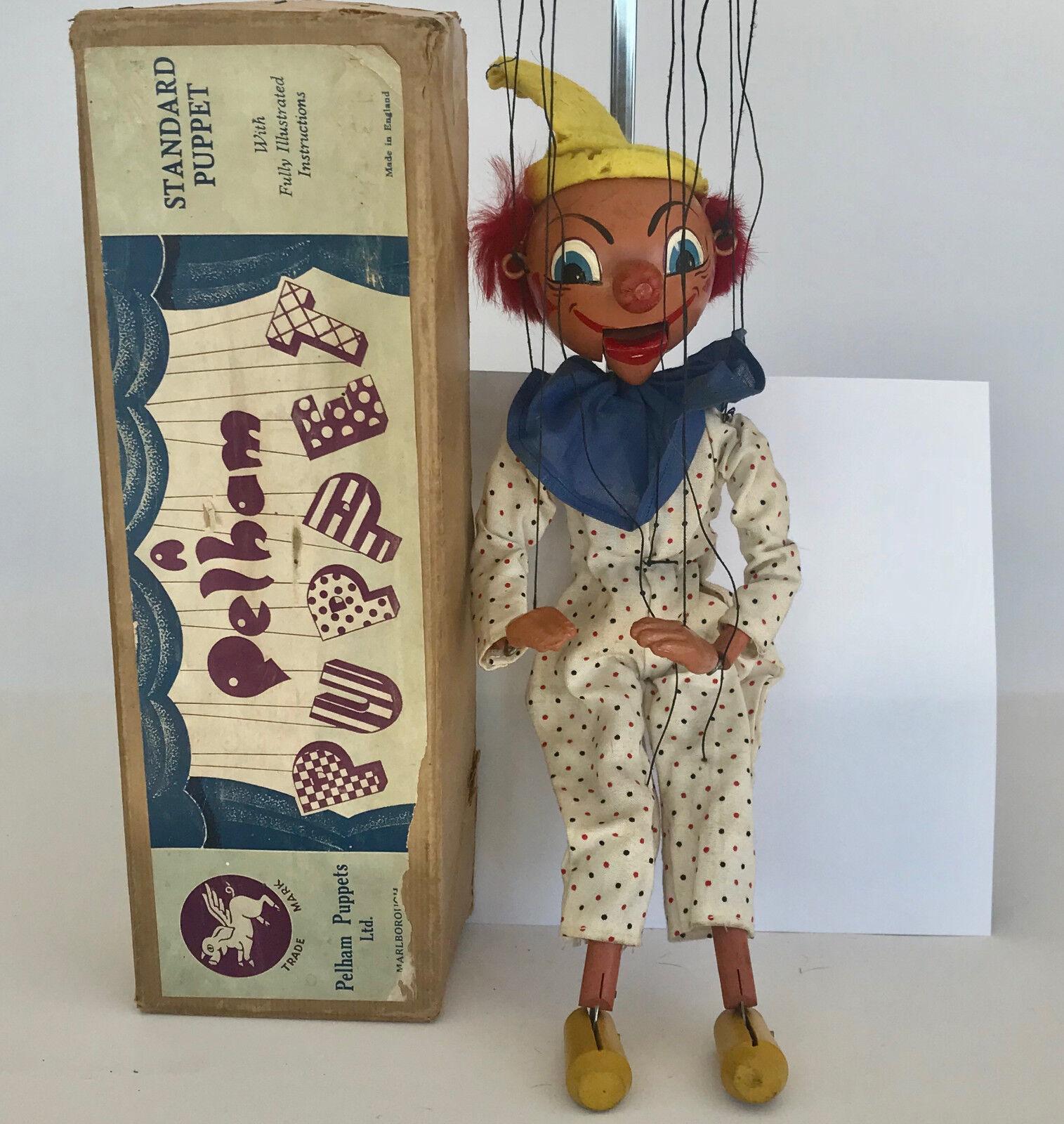 Pelham marioneta SM  Payaso , caja original de marrón, Vintag Circa 1950