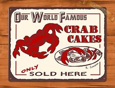 """TIN-UPS TIN Sign """"World Famous Crab Cakes"""" Vintage Restaurant Beer Store"""