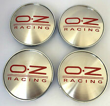 4x OZ Racing 68mm Alloy Wheel Hub Centre Caps Cap , Brand New , Silver Red