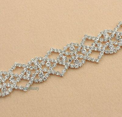 1yds Clear Rhinestone Crystal Silver Sew On Stunning Trim Fabric Sewing Craft