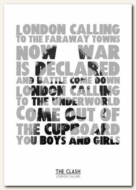 THE CLASH - London Calling - song lyric poster typography art print - 4 sizes