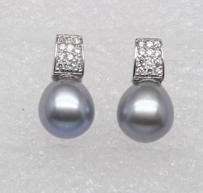 GW Noblest 9-10mm Silver-Gray AAA+ Oval  Shape pearl Stud earring