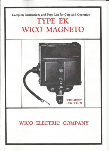 Complete Instructions /& Parts List Wico MagnetoType EK