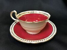 Aynsley Durham Red Maroon Scalloped Teacup and Saucer Bone China England