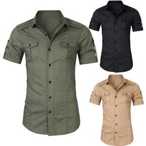 Mens-Military-Short-Sleeve-Casual-Shirt-Work-Cargo-Shirt-Slim-Fit-Shirt-Tops