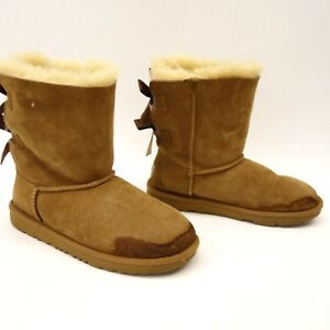 594c4697cbf Details about New UGG Kids Bailey Bow II Chestnut Suede Shearling Boots  1017394 Size 4