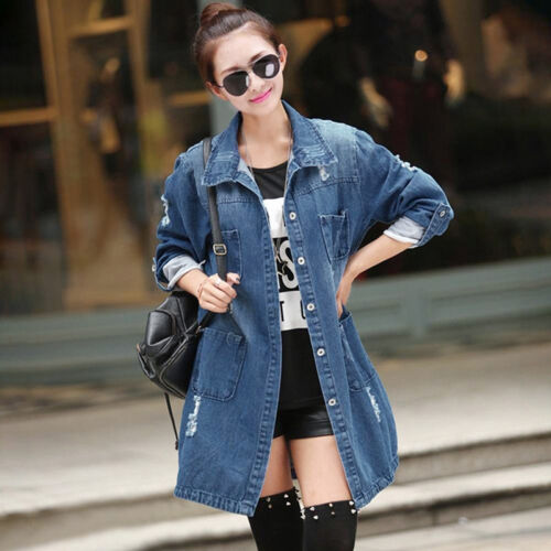 Fashion Women Casual Denim Jacket Solid Long Sleeve Jeans Coat Outwear Tops