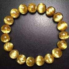 Natural Titanium Gold Rutilated Quartz Crystal Beads Bracelet 10mm AAAAAA