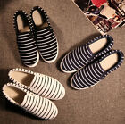 women girl Flat Slip On Casual Sneaker DIY Hand Painted Stripe Canvas Shoes