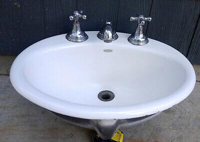 Vintage Kohler Oval Cast Iron Porcelain 19x16 Drop In