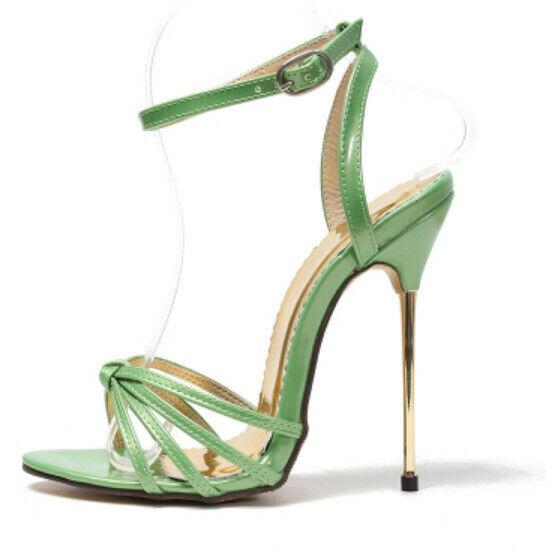 Sexy Para Mujer Runway Tacones de aguja 13cm Sandalia Con Puntera Abierta y Correa al Tobillo Zapatos Puntera Puntiaguda