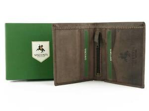 Mens Premium Leather Compact Wallet by Visconti; Hunter Collection Gift Box (...