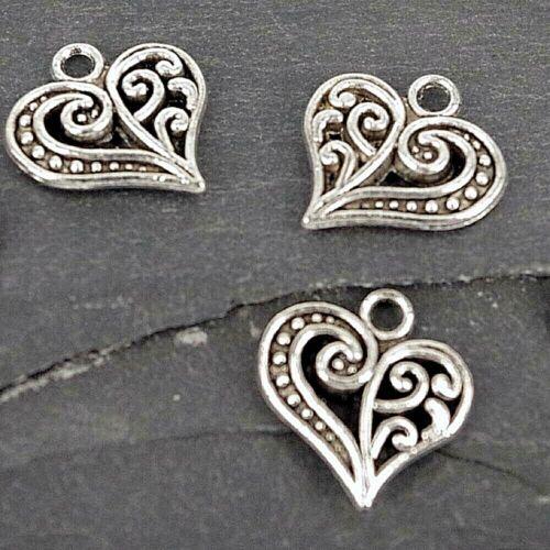 CH9-Pack de 10 Heart Charms Pendentif Argent Antique Findings Charm