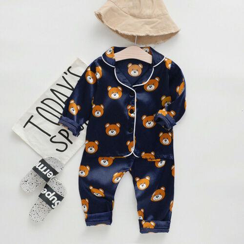 Toddler Kid Baby Boy Girl Long Sleeve Cartoon Tops+Pant Pajamas Sleepwear Outfit