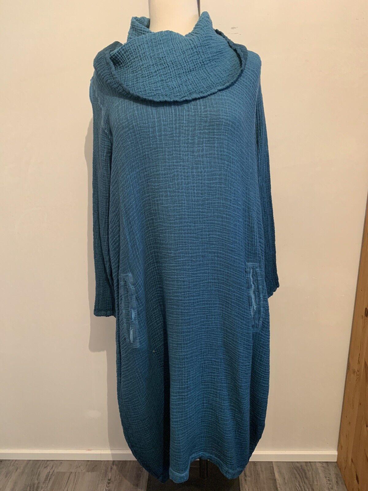 KEKOO  palloncino vestito-, 100% cotone, petrolio, taglia 48-50 (3), grande colletto