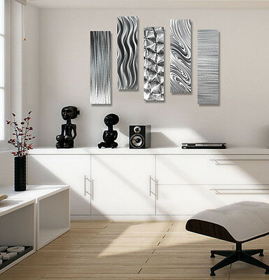 Set of 5 - Silver Modern Metal Wall Art Sculpture - 3D Contemporary Panel Decor